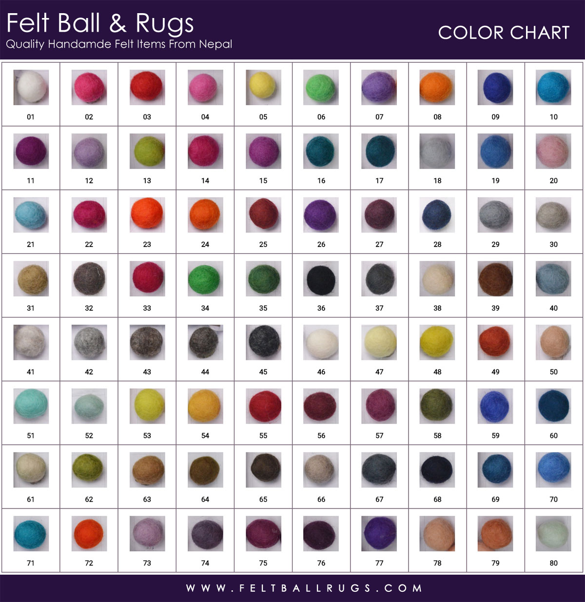 Color Chart - Felt Ball & Rugs