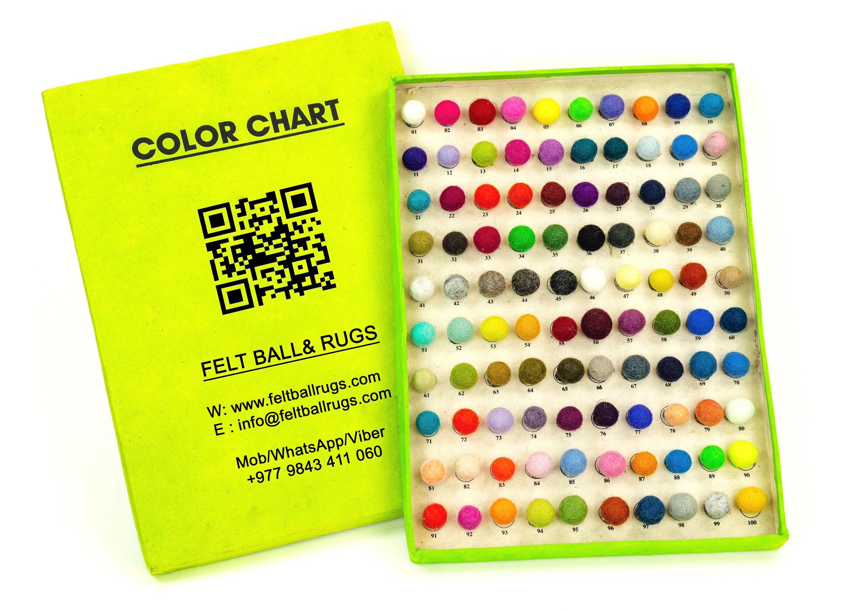 Color Chart Felt Ball Rugs
